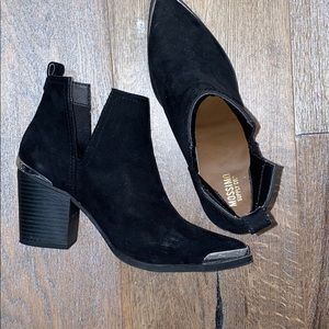 Black Booties with Silver Toe